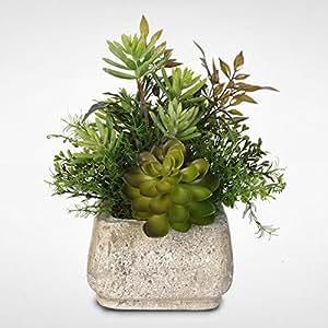 artificial succulent arrangement in a stone pot home kitchen. Black Bedroom Furniture Sets. Home Design Ideas