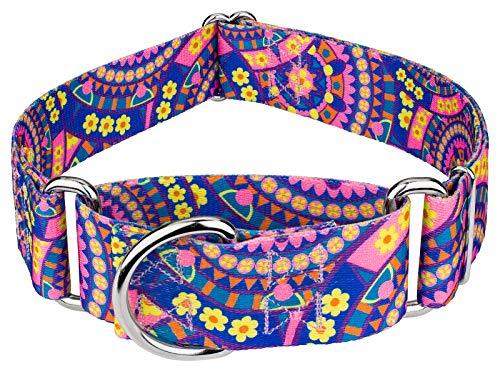 Country Brook Petz - 1 1/2 Inch Blue Boho Mandala Martingale Dog Collar - Medium