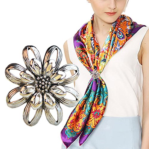 Women's Elegant Flower Layers Designer Scarves Clip Classic Chiffon Scarves Ring Silk Scarf Jewelry