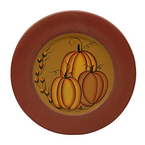 CVHOMEDECO. Primitive Antique Pumpkin Painted Wood Decorative Plate Halloween Display Wooden Plate Home Décor Art, 9-1/2
