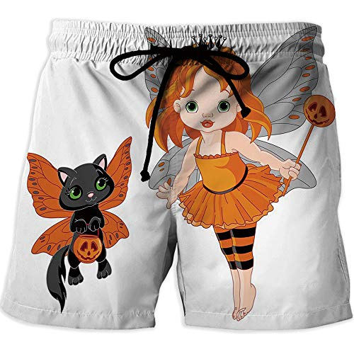 Mens Boardshorts Swim Trunks Quick Dry Shorts,HalloweenRunning Surfing Shorts with LiningHalloween Baby Fairy and Her Cat in Costumes Butterflies Girls Kids Room Decor Decorative