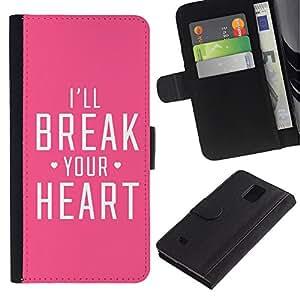 APlus Cases // Samsung Galaxy Note 4 SM-N910 // Break del corazón de la angustia Rosa feroz Amor // Cuero PU Delgado caso Billetera cubierta Shell Armor Funda Case Cover Wallet Credit Card