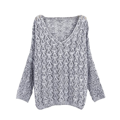 Sweater Longue Tricot Tricot Col Top Hollow Out Femmes Lumi V en Chandail Baggy YOUJIA Pull Manche en Oversize BnHSwPO