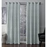 Cheap Exclusive Home Scrollwork Gated Print Woven Sateen Window Curtain Panel Pair with Grommet Top, 52×84, Seafoam, 2 Piece
