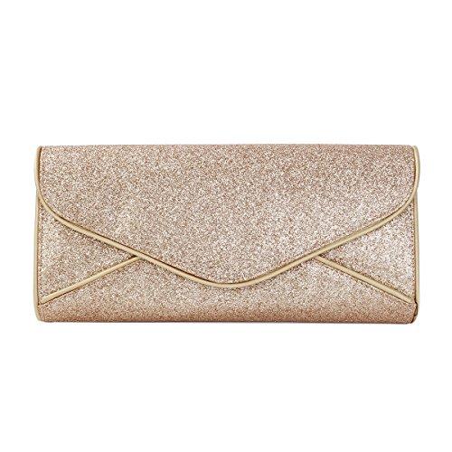 - Premium Large Metallic Glitter Envelope Flap Clutch Evening Bag, Champagne