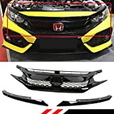 Fits for 2016-2018 Honda Civic Glossy Black FK8 TYPE-R Style Front Hood Mesh Grill Grille