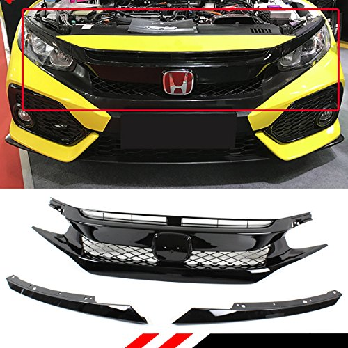 - Fits for 2016-2018 Honda Civic Glossy Black FK8 TYPE-R Style Front Hood Mesh Grill Grille