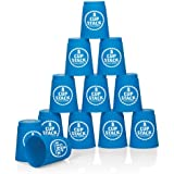 Cup Stack Challenge - set of 12 sturdy plastic cups to slip, flip, rack and stack! - Red or Blue colours (one colour set selected at random on despatch