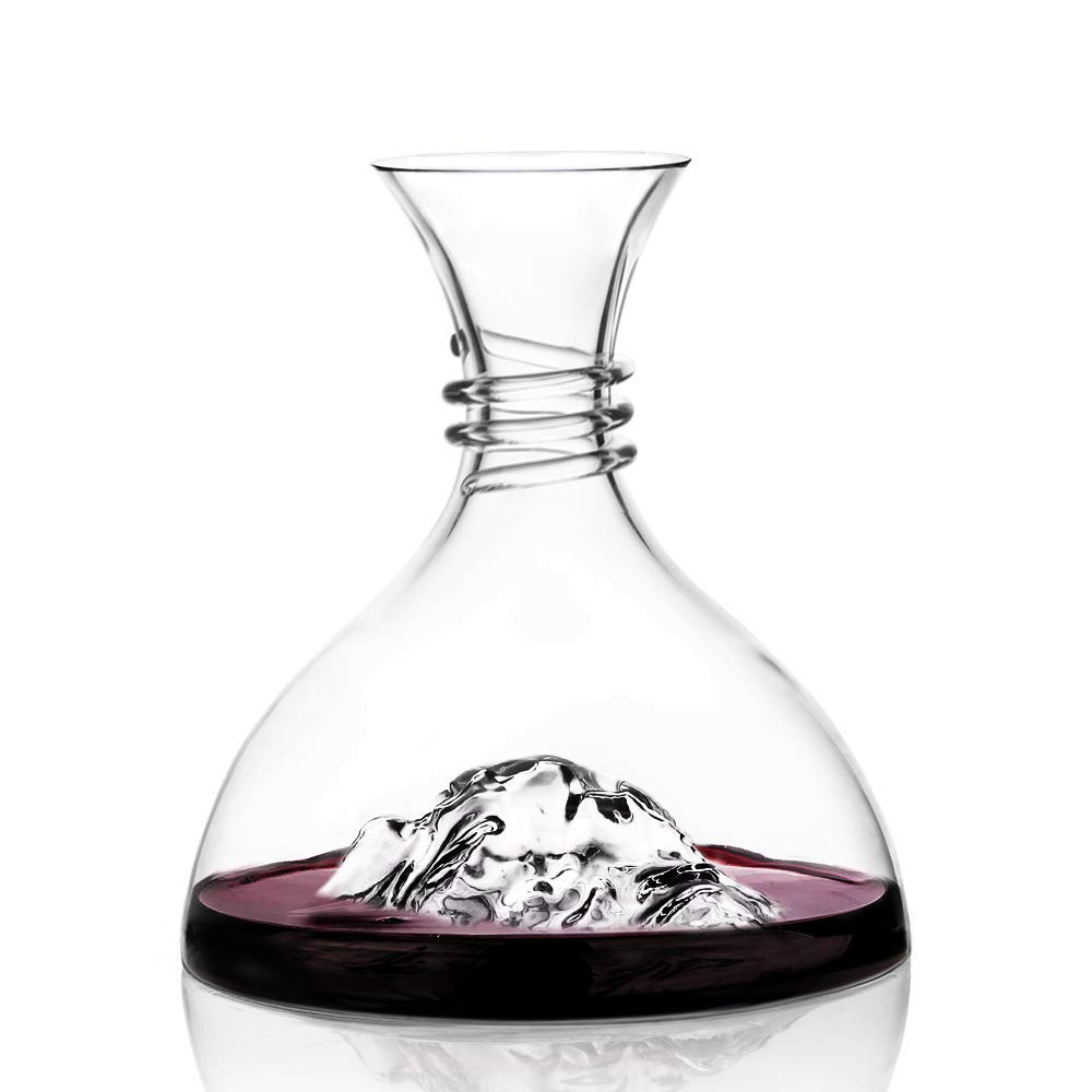 Nines Sun Wine Decanter Aerator Iceberg Shaped Design Wine Carafes Hand Blown Lead-Free Crystal Glass 60.8 Oz Elegant Red Wine and Liquor Decanters Set, Bar Accessories and Décor, Gifts for Wine Lover