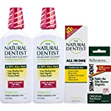 The Natural Dentist 4-Piece Gum Health Kit, Includes Two 16.9 Ounce Bottles of Healthy Gums Mouthwash, 5 Ounce Tube of All in One Fluoride Toothpaste, and 200 Stim-U-Dent Wooden Plaque Removers