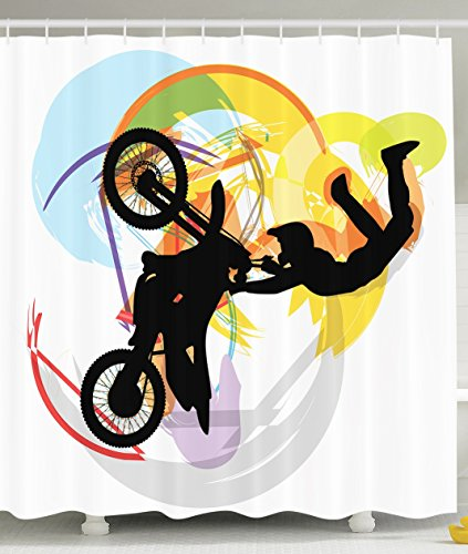 Ambesonne Motorcycle Sports Motorcyclist Abstract Art Decor Challenge Adventure Sketch Shower Curtain Colorful Multicolor Shades for Acrobatics Moto Road Black Yellow Light Blue Orange Purple White Motorcycle Christmas Lights