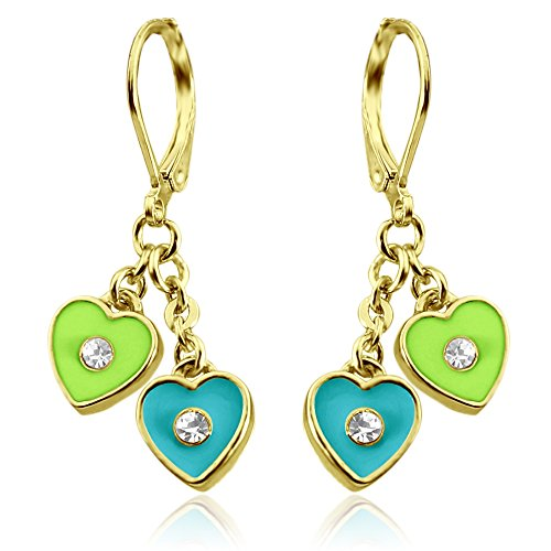 Little Girls Earrings Enamel and Crystal Dangle Hearts- 14kt Gold Plated Lever backs Jewelry for Girls