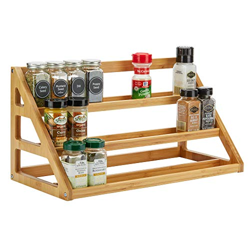 SpiceLuxe Bamboo Stadium Rack - 30 Jar Capacity - Beautiful Spice Organizer for Counter or Cabinets | Rack Only | Spice Jars Not Included | Assembly Required