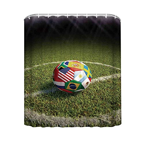 YOLIYANA Sports Decor Practical Shower Curtain,A Soccer Ball on a Soccer Field Printed Flags of The Participating Countries for Hotel Bath,94'' W x72'' H (94 Country With Blue On Its Flag)