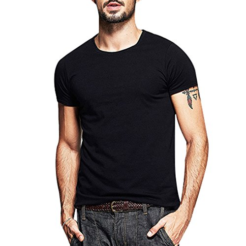 Price comparison product image Men's Summer Fashion Slim Fit O-neck Casual T Shirts Silky Cotton Soft Elasticity Short Sleeve Muscle Tops Tee (L,  Black)