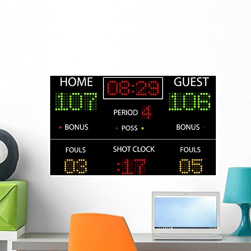 Vector Basketball Scoreboard Wall Mural by Wallmonkeys Peel and Stick Graphic (24 in W x 16 in H) WM154224