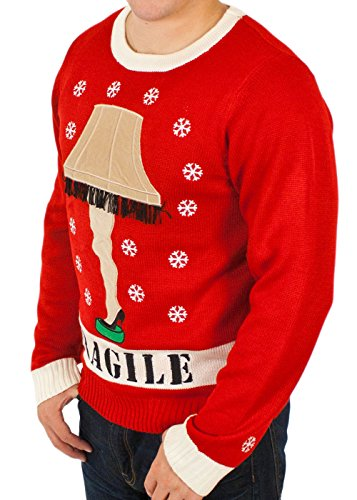 a christmas story lighted leg lamp sweater in red by festified x large at amazon mens clothing store