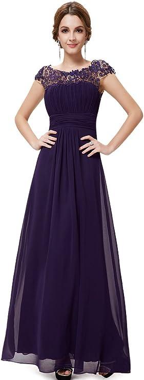 Vestido de noche para mujer Ever-Pretty, con cubrehombros y escote de encaje, y busto drapeado, 09993