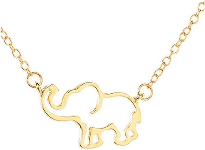 Collar Elefante Stianless Acero Collares Para Las Mujeres Collar De Cadena Pendiente De La Vendimia Largo Del Oro