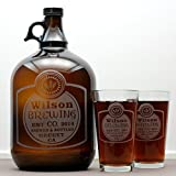 Personalized Engraved Classy Label Home Brew Growler and Four Glass Set | Custom Beer Gift