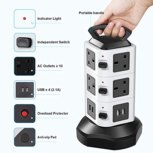 bedee Tower Power Strip Extension Cord, 10 Way Outlets 4 USB Ports Tower Extension Lead with Surge Protection Overload Protection, Retractable 2M / 6.5FT Extension Plug Lead with USB Slots