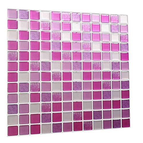 Peel and Stick Wall Tiles Peel and Stick 3D Wall Tile Anti Mold Anti Oil PET Backsplash for Kitchen Bathroom Brown Color(10 Tiles)