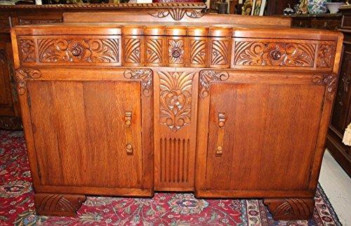 English Antique Art Deco Oak Sideboard - Art Deco Sideboard