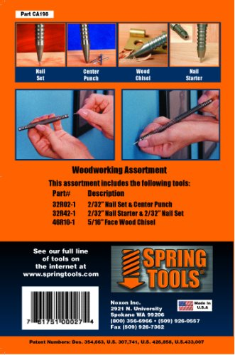 (SpringTools CA198 3 Piece Woodworking Set with Nail Starter, Nail Set, Wood Chisel, Center Punch)