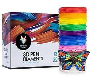 3D Pen Filament Refills (12) - PLA Color Printer Refill Filaments for 3D Pens - Bonus Stencil eBook, Vibrant, Non-Toxic, Plant-Based Art Supplies for Kids and Artists (1.75 mm, 20 ft) filament refills by Invictus Enterprises