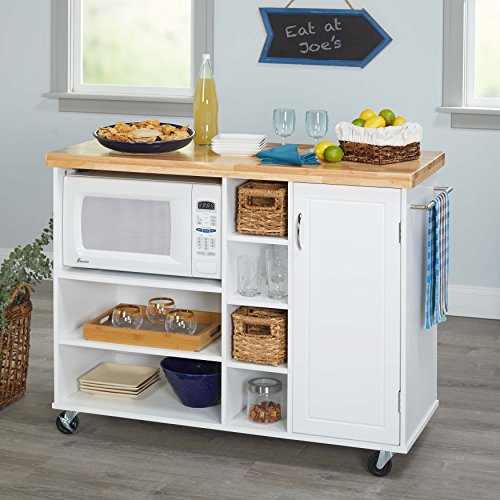 Kitchen Islands on Wheels Microwave Cart Portable Mobile Storage Unit Breakfast Bar with Cabinet Shelves and Towel Rack Bundle includes Bonus Kitchen Conversion Chart Magnet From Designer Home (White) (Breakfast Cart)