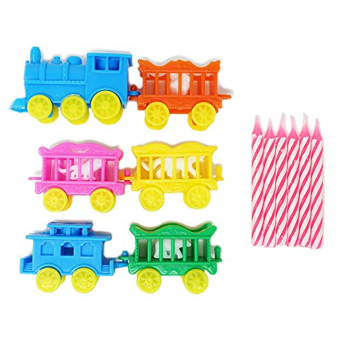 Vintage Animal Traveling Circus Train Birthday Party Cake & Cupcake Topper and Candle Set (1 Count) - Pink Candles