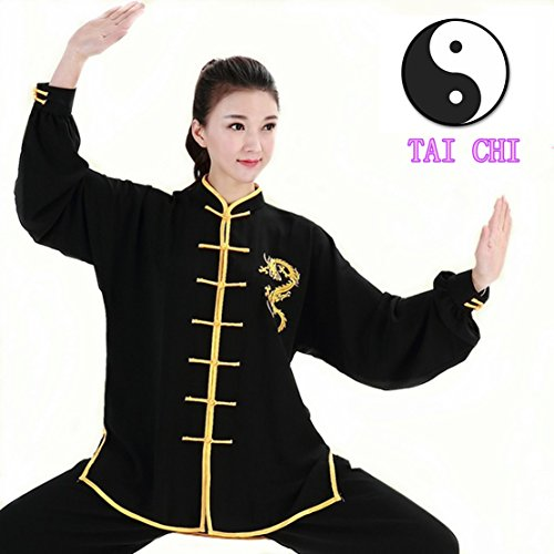 WUYIN Unisex Cotton Silk Tai Chi Uniform Women Silk Tai Chi Kung fu Clothes for Mens Martial Arts Tai Chi Suits Tang Suits Taiji Uniform (XXL, BDT-2)