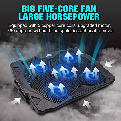 Pccooler Laptop Cooling Pad, Portable Laptop Stand with 6 Angle Adjustable & 5 Quiet Blue LED Fans for 12-17.3 Inch Gaming Laptop, Laptop Cooler Built-in Dual USB Ports Support Mouse Device, Keyboard 518G3xDrbiL