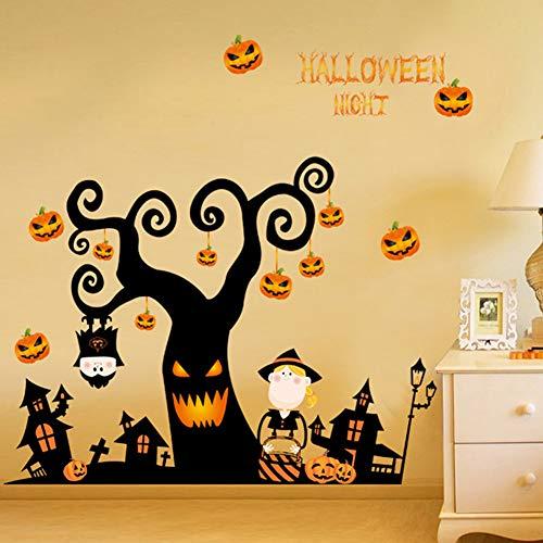 Dragon Honor Wall Sticker Happy Halloween Pumpkins Tree Spooky Wall Decals Halloween Decorations