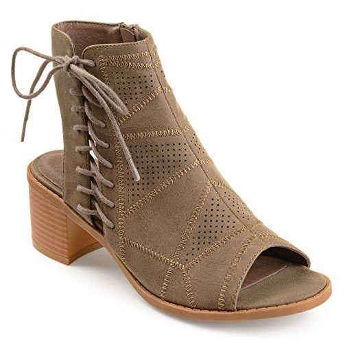Journee Collection Womens Perforated Cut-out Heel Side Lace-up Booties Brown WekmXmo