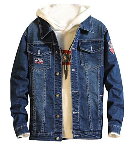 Jacket Premium Applique 1 Button Regular Fit Down RkBaoye Men's Denim v8TfR