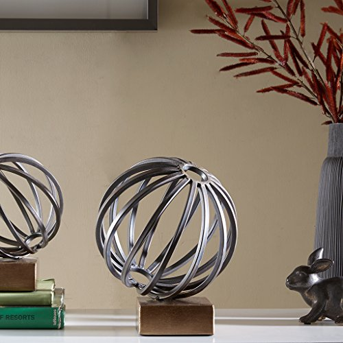 Bellac Metal Globe Figurine - Modern Living Room Table Decor, Home Decorations Bronze Large by Madison Park
