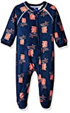 MLB Detroit Tigers Newborn Boys Sleepwear All Over Print Zip Up Coveralls, 3-6 Months, Athletic Navy