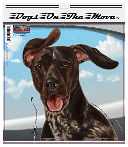 German Shorthair Pointer - Pet Gifts Window Vinyl Decal, Dogs On The Move, Sticker Clings to Glass surfaces, Cars Trucks & SUVs, for Doggy Lovers!