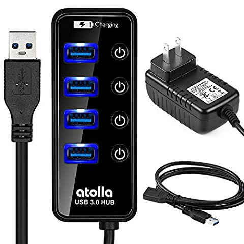 atolla AT-204U3 4+1 Port Powered USB 3.0 Hub Kit with Power Supply Adapter and Extension Cable (Usb3 Hub Network)