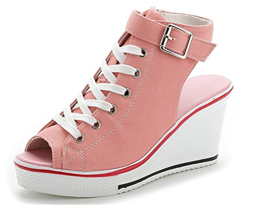 Wedges Sandals Women, Peep-Toe Summer Casual Platform Canvas Sneakers 4 Colors (US 9, Pink)
