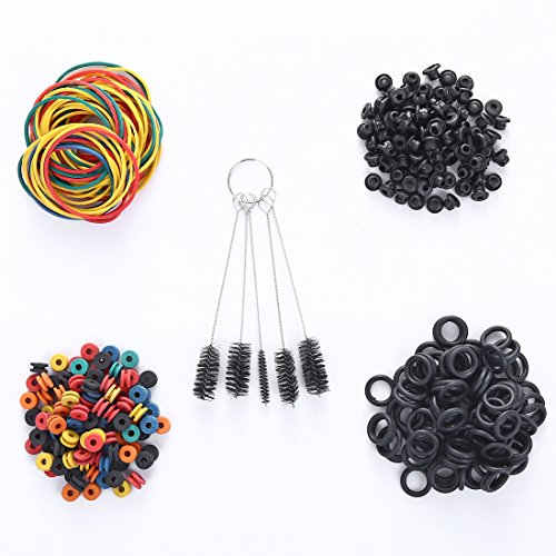 Tattoo Machine Parts,New Star Tattoo 100pcs Tattoo Rubber Bands, 100 pcs Tattoo Grommets,100 pcs Tattoo O-rings,100pcs Tattoo Nipples&1 set Cleaning Brush Set ()