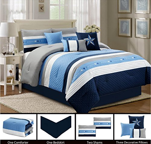Piece Blue Bedding 7 (Modern 7 Piece Bedding LIGHT BLUE, NAVY, WHITE, GREY Pin Tuck - Texas Lone Star Embroidered (California) Cal King Comforter Set with accent pillows)