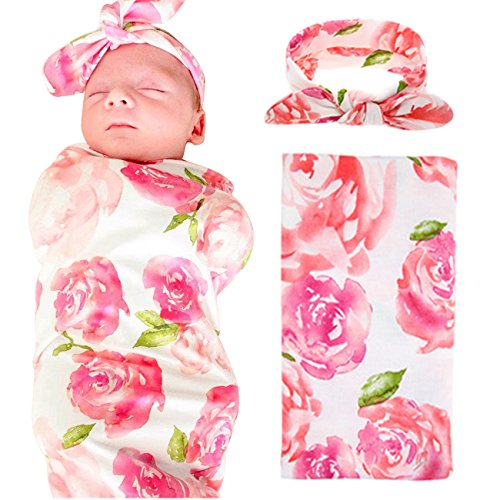 Newborn Floral Swaddle BQUBO Receiving Blanket With Headbands Toddler Warm Baby Shower Gift(Pack 1) (Pink B) (Baby Pink Bundle)