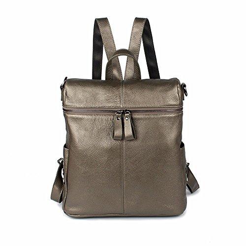Leder Handtasche Student Tasche Litschi Muster Double Shoulder Bag fashion multifunktionale Tasche, 29 * 13 * 32 cm Champagner Farbe