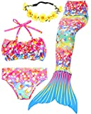 Garlagy 3 Pcs Girls Swimsuit Mermaid Tails for Swimming Princess Bikini Set Bathing Suit Swimmable Can Add Monofin 3-14Y (3T-4T/Ht:42-44in(tag 110), C-Lucky Colorful)