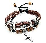 Suyi Multilayer Adjustable Leather Woven Braided Bangle Cross Bracelet Leaf Wrist Cuff Wristband