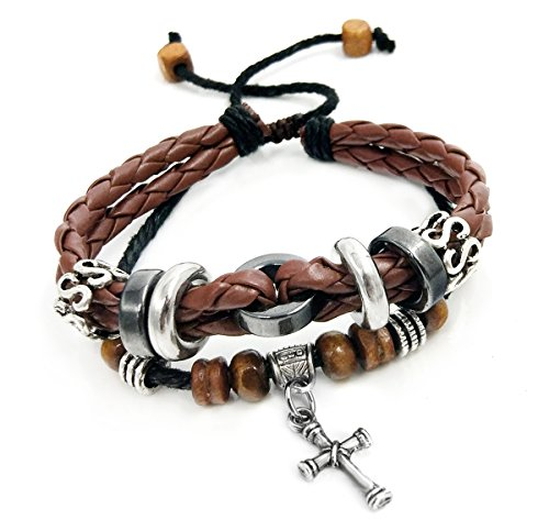 Suyi Multilayer Adjustable Leather Woven Braided Bangle Cross Bracelet Leaf Wrist Cuff Wristband Ccoffee ()