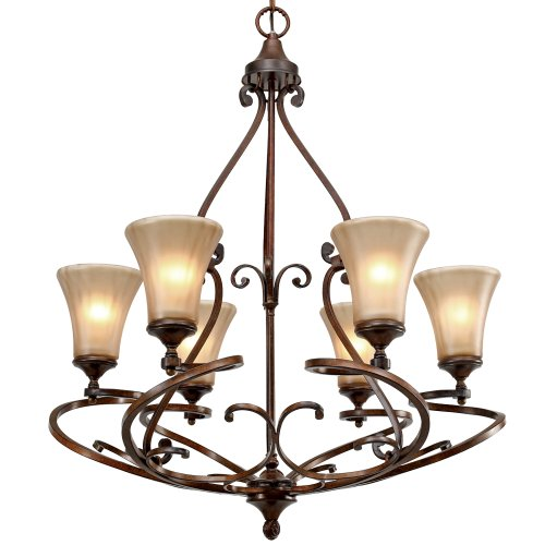 Golden Lighting 4002-6 RSB Loretto Chandelier, Fixture Size: 30-Inch W by 36.5-Inch H, Russet Bronze