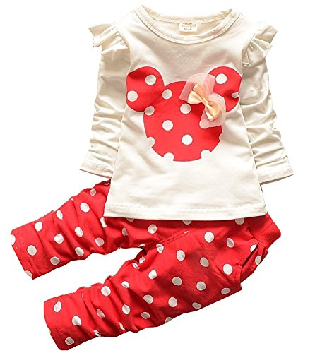 Baby Girl Clothes Infant Outfits Set 2 Pieces Toddler with Long Sleeved Tops + Pants(3-6 Months,Red) (Infant Baby Girls Long Sleeved)